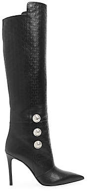 Balmain Women's Monogram-Embossed Leather Knee-High Boots