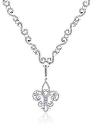 Rhonda Faber Green Fleur De Lis Enhancer 18K White Gold Diamond Pendant