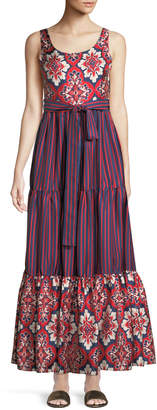 Double J Pellicano Scoop-Neck Sleeveless Mixed-Print Silk Maxi Dress
