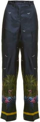 Fly London Zelos Trousers From F.r.s For Restless Sleepers: Multicolor Zelos Trousers With Belt Loops, Flared Style, Sky And Landscape Print, Button And Zip