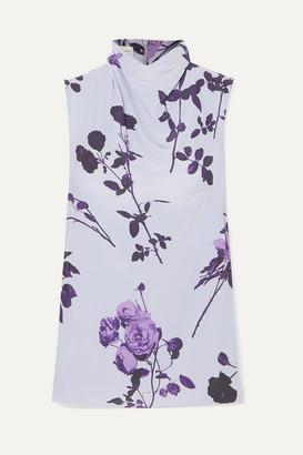 Dries Van Noten Chiara Floral-print Crepe Top - Lilac