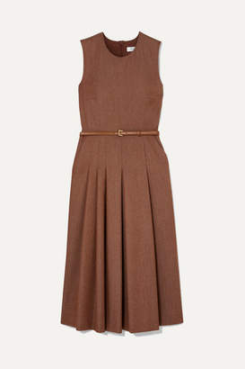 Max Mara Belted Brushed Wool-twill Midi Dress - Beige