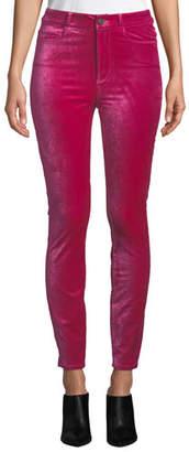 Paige Margot Velvet Ankle Skinny Jeans
