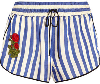 Off-White - Embroidered Striped Silk Shorts - Blue $425 thestylecure.com