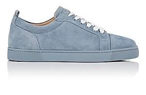 Christian Louboutin Men's Louis Junior Flat Suede Sneakers-Gray