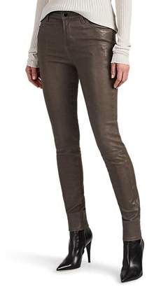 J Brand Women's Maria Leather High-Rise Skinny Pants - Gray
