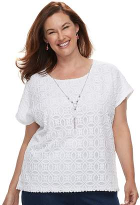 Alfred Dunner Plus Size Studio Lace Top