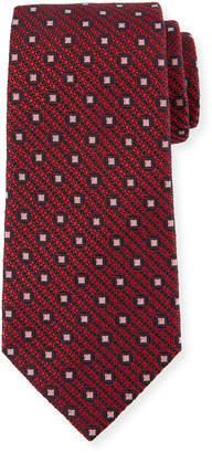 Ermenegildo Zegna Box-On-Jacquard Silk Tie, Red