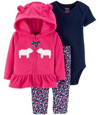 Carter's Child of Mine by Hooded Peplum Cardigan, Short Sleeve Bodysuit & Pants, 3-Piece Outfit Set (Baby Girls)