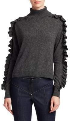 Cinq à Sept Savanna Cashmere Ruffle Turtleneck Sweater
