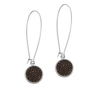 N'Damus London - Silverdale Brown Stingray Leather & Steel Drop Earrings