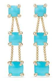 David Yurman Châtelaine Linear Chain Earrings with Turquoise & Diamonds in 18K Gold