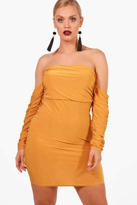 boohoo Plus Rouched Off Shoulder Dress