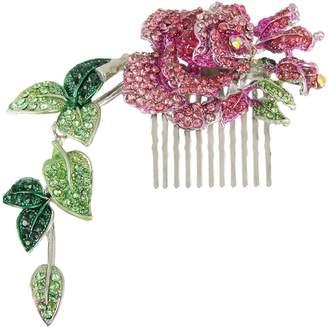 Ever Faith Silver-Tone Austrian Crystal Enamel Wedding Rose Flower Vine Leaf 5.5 Inch Hair Comb N00498-4