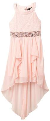 My Michelle mymichelle High-Low Chiffon & Lace Halter Dress (Big Girls)
