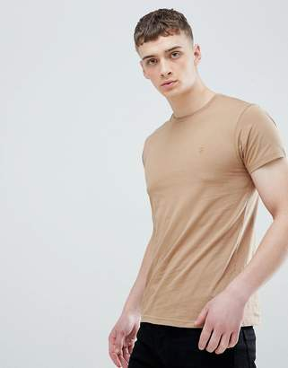 Farah Farris slim fit logo t-shirt in in sand
