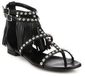 Saint Laurent Studded Leather Fringe-Trimmed Sandals