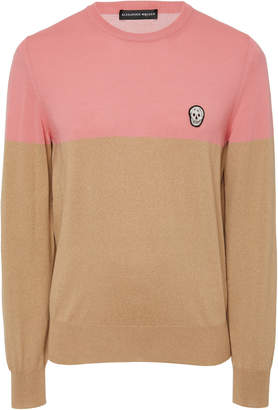 Alexander McQueen Colorblocked Skull-Embroidered Wool Sweater