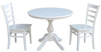 """INC International Concepts 36"""" Round Top Dining Table and 2 Emily Chairs White - 3 Piece Set"""