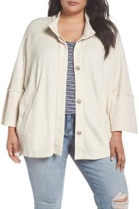 Caslon R R) Button Front Knit Jacket (Plus Size)
