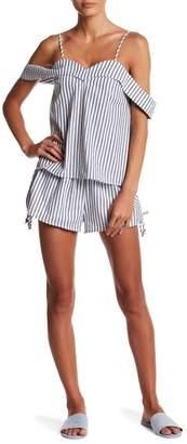 L'Atiste Cold Shoulder Stripe Blouse & Shorts 2-Piece Set
