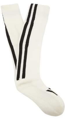 Y-3 Y 3 Logo Wool Blend Socks - Mens - White