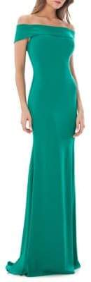 Carmen Marc Valvo Off-the-Shoulder Mermaid Gown