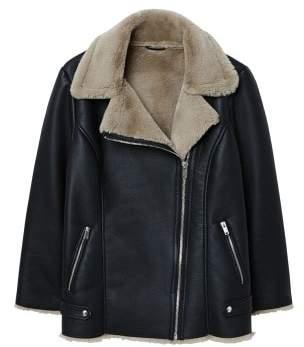 Violeta BY MANGO Faux-fur lining biker jacket