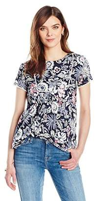 Ella Moon Women's Eva Short Sleeve Printed Top with Lace