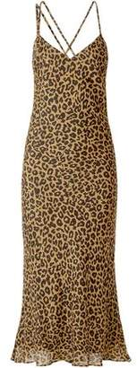 Mason by Michelle Mason Draped Leopard-print Silk-chiffon Midi Slip Dress