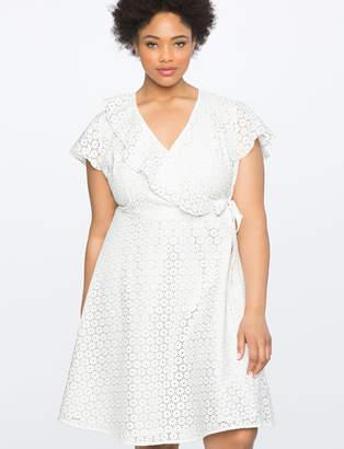 ELOQUII Studio Eyelet Wrap Dress