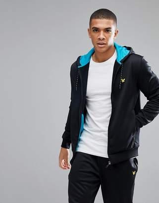 Lyle & Scott Fitness Hill Fleece Zip Through Hoodie In Black