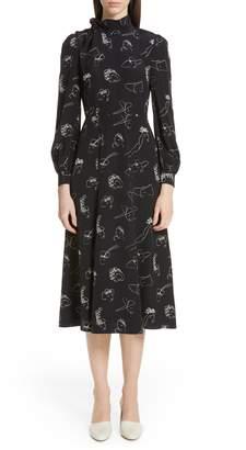 Co Hat Print Button Shoulder Silk Dress