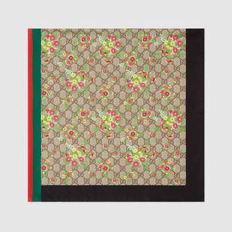 Gucci Floral and GG print silk scarf