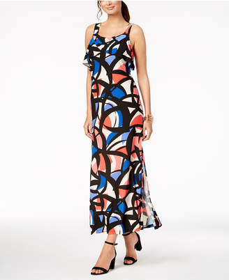 Nine West Printed Ruffle Maxi Dress