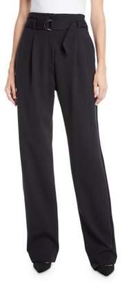 3956bd5f7eba3 Sally LaPointe Belted High-Waist Straight-Leg Crepe Pants