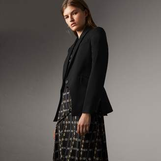 Burberry Cut-out Detail Tailored Wool Riding Jacket