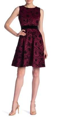 Gabby Skye Sleeveless Floral Velvet Dress