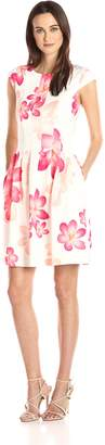 Calvin Klein Women's Cap Sleeve White Ground Floral Print Fit and Flare Dress