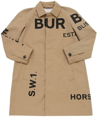 Burberry Logo Print Cotton Trench Coat