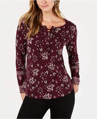 Style&Co. Style & Co Floral-Print Lace-Up Top, Created for Macy's