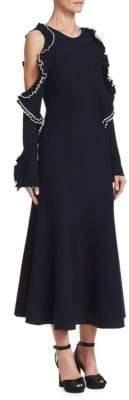 Oscar de la Renta Ruffle Wool-Knit Midi Cocktail Dress
