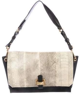 Oscar de la Renta Snakeskin & Leather Shoulder Bag
