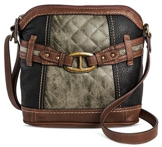 Bolo Women's Faux Leather Crossbody Handbag with Front/Back/Interior Compartments and Zipper Closure - Black//Gray/Brown $29.99 thestylecure.com