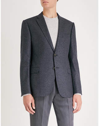 Emporio Armani M-line micro-check pattern wool-blend jacket