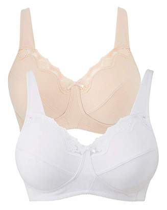 Naturally Close 2Pack Sarah Non Wired White/Blush Bras