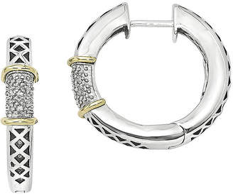 Couture FINE JEWELRY Shey 1/10 CT. T.W. Diamond Sterling Silver Hinged Hoop Earrings