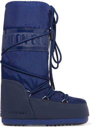 Moon Boot Shell-piqué And Rubber Snow Boots - Blue
