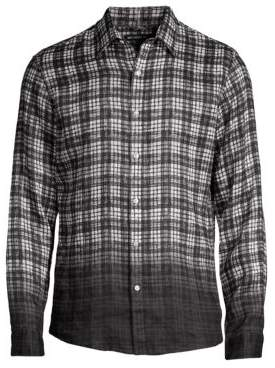 Michael Kors Slim-Fit Madras Dip Dye Check-Print Woven Shirt