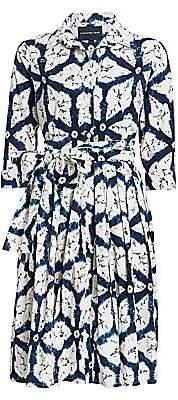 Samantha Sung Women's Regular-Fit Graphic Print Tie-Waist Shirtdress
